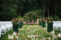 Ceremonie hindu rouge, blanche et verte
