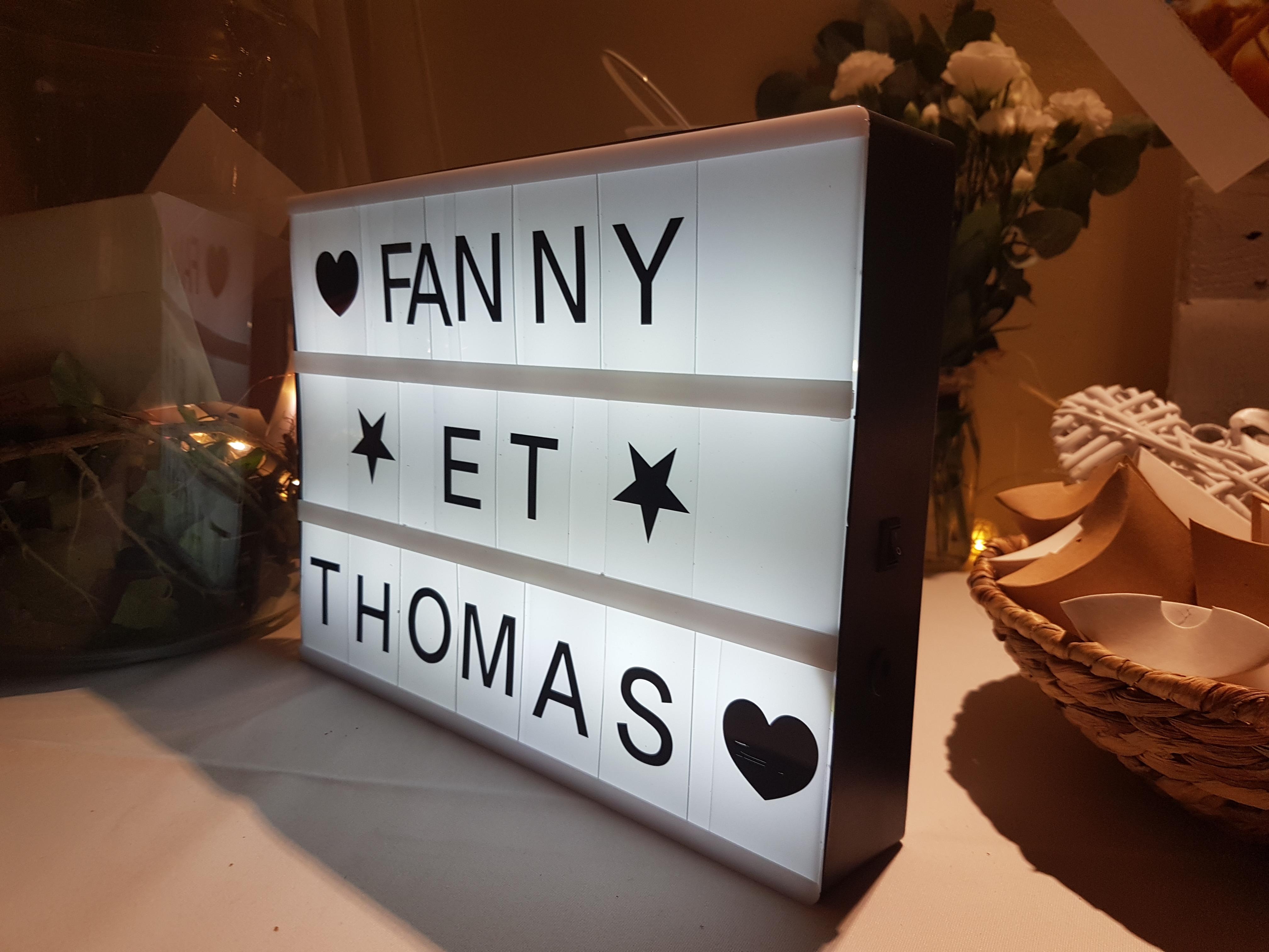 Lightbox avec lettres et symboles