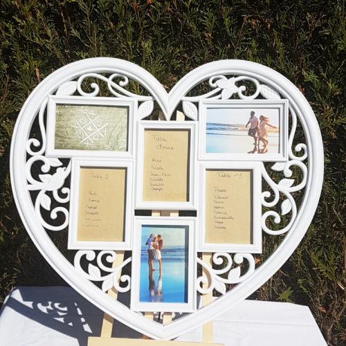 Cadre bohème cœur pour plan de table