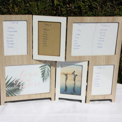 Cadre bois et blanc pour plan de table