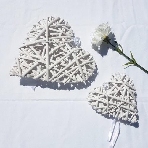 Cœur en bois blanc petit ou grand modèle