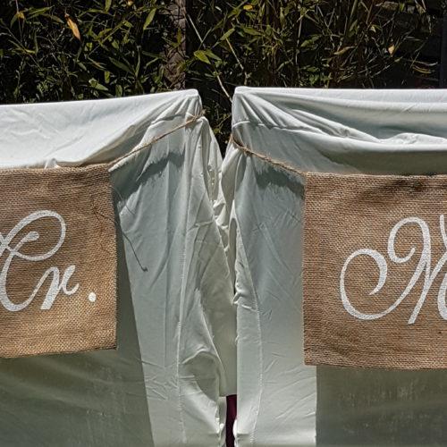 Panneau chaise toile de jute Mr et Mrs